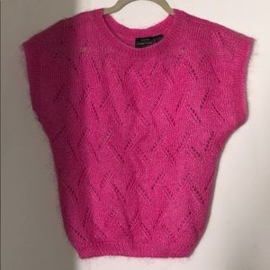 Pink Wool Sweater Vest with Short Sleeves